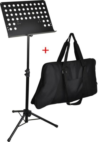 Steinbach Orchesternotenpult Lochblechauflage Metall schwarz SET inkl. Tasche