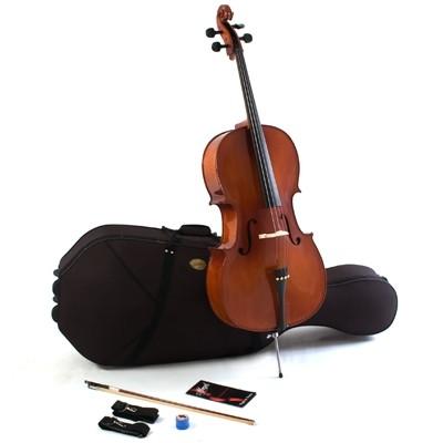 MENZEL 4/4 Cello CL701 im Set Antique Dark Brown, Ebenholzgarnitur, massive Fichtendecke, angeflammt