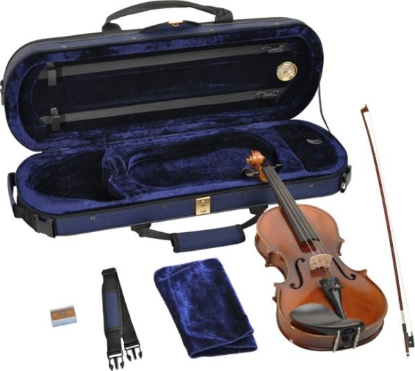 Steinbach 1/4 Geige im SET Ebenholzgarnitur poliert angeflammter Boden