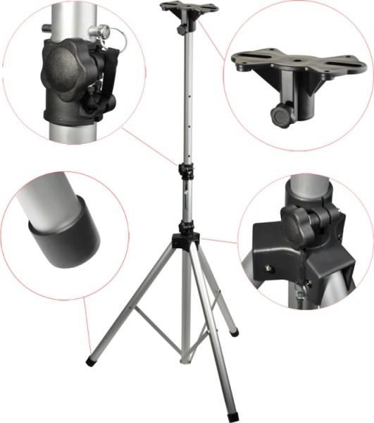 Steinbach Mittelgewicht Aluminium Lautsprecher-Stativ mit einklappbaren Füßen silber