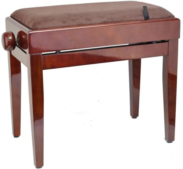 Steinbach Klavierbank mit Notenfach in Mahagoni poliert mit braunem Stoffbezug