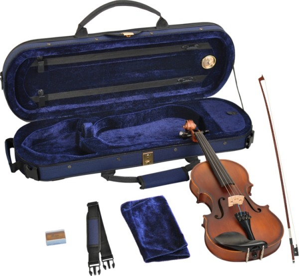 Steinbach 1/4 Geige im SET Ebenholzgarnitur angeflammter Boden THOMASTIK DOMINANT SAITEN