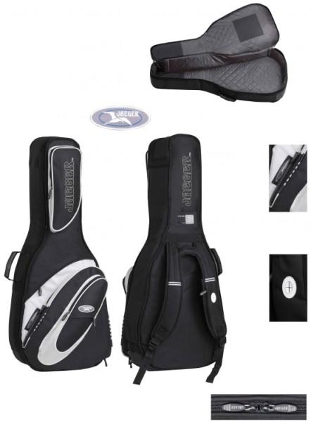 4/4 Jaeger Gitarrentasche in schwarz-anthrazit für E-Bass 20mm Peak
