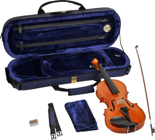 Steinbach 1/4 Geige im SET Ebenholzgarnitur wunderschön geflammt poliert