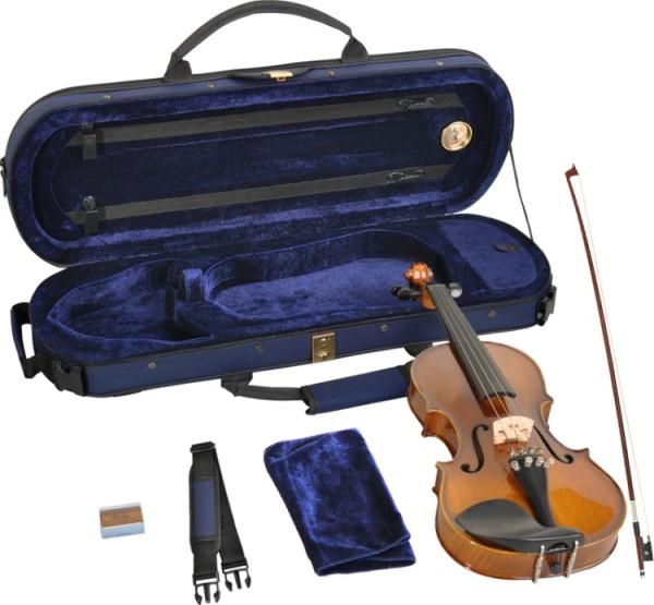 Steinbach 1/2 Geige im SET Ebenholz angeflammter Boden goldbraun poliert