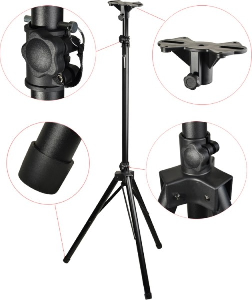 Steinbach Mittelgewicht Aluminium Lautsprecher-Stativ mit einklappbaren Füßen schwarz