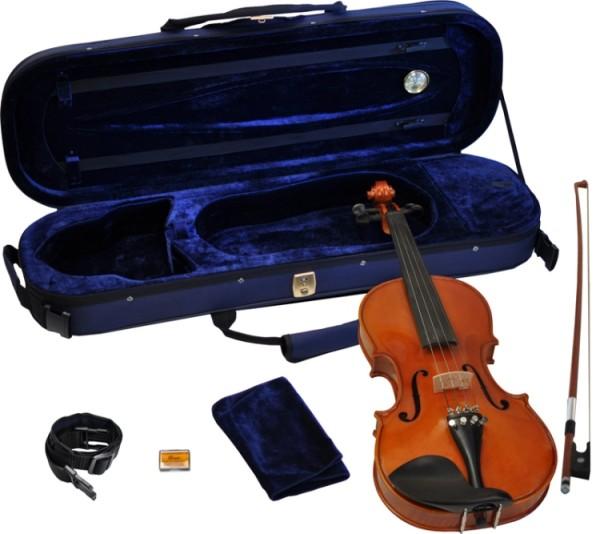 Steinbach 1/8 Geige im SET Ebenholzgarnitur angeflammter Boden Orangebraun poliert