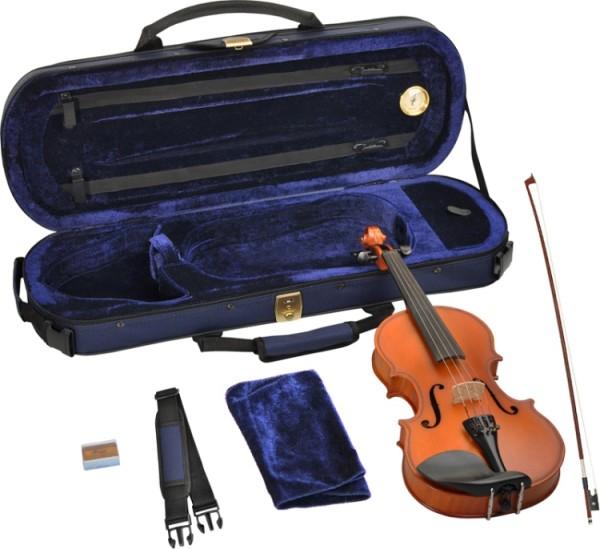 Steinbach 1/8 Geige im SET Ebenholzgarnitur angeflammter Boden Orangebraun