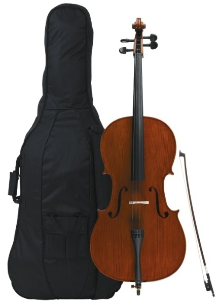 Gewa 4/4 Cello Ideale im Set Ebenholzgarnitur vollmassiv angeflammter Boden