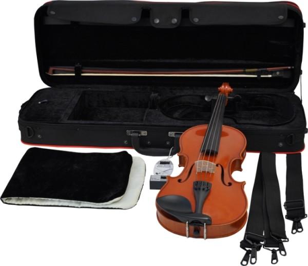 Gewa Geige Ideale im Set 1/4, vollmassive Violingarnitur mit angeflammten Boden, GEWA