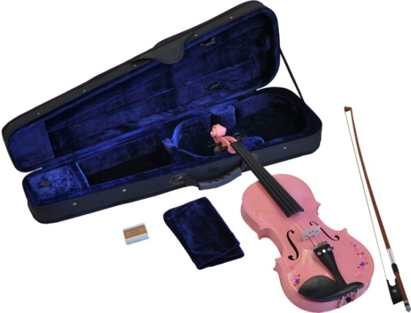 Steinbach 1/4 Geige im SET pink mit Blumendekor handgearbeitet