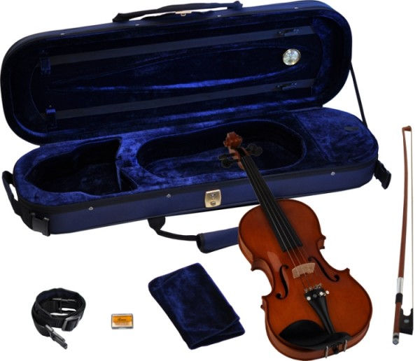 Steinbach 1/8 Geige im SET Ebenholzgarnitur rotbraun poliert angeflammter Boden