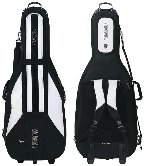 Jaeger 3/4 Basssack Basstasche 30mm mit Laufrollen und Rucksackgurten schwarz/anthrazit