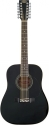 Stagg SW205/12 BK 12-saitige Akustische Dreadnought Gitarre mit Fichtendecke
