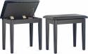 Steinbach Klavierbank mit Notenfach in schwarz poliert mit schwarzem Kunstleder