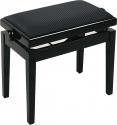 Burghardt Klavierbank Europa Schwarz poliert schwarzer Stoffbezug- Made in Europe