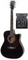 GEWApure 4/4 Elektro-Akustik Westerngitarre in schwarz mit Fichtendecke D10-CE