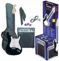 Tenson 4/4 E-Gitarre Starter-Set mit schwarzer Gitarre inkl. Zubehör