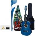 Tenson 4/4 Konzertgitarre Starter-Set mit transparent-blauer Gitarre inkl. Zubehör
