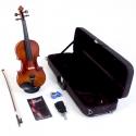 MENZEL Geige VL701 im Set 4/4 Antique Dark Brown, Fichtendecke massiv, angeflammter Ahornboden, Bogen BV50 & Holz-Koffer CV70