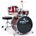 PLATIN Kinderschlagzeug DrumKids 3-teiliges 14 Zoll Junior- Schlagzeugset mit Becken, Hocker und Sticks, wine red