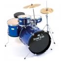 PLATIN Kinderschlagzeug DrumKids 3-teiliges 16 Zoll Junior- Schlagzeugset mit Becken, Hocker und Sticks, metallic blue