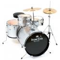 PLATIN Kinderschlagzeug DrumKids 3-teiliges 16 Zoll Junior- Schlagzeugset mit Becken, Hocker und Sticks, metallic silver