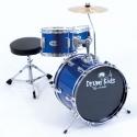 PLATIN Kinderschlagzeug DrumKids 3-teiliges 14 Zoll Junior- Schlagzeugset mit Becken, Hocker und Sticks in metalic blue