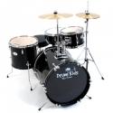 PLATIN Kinderschlagzeug DrumKids 3-teiliges 16 Zoll Junior- Schlagzeugset mit Becken, Hocker und Sticks, schwarz