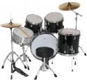 Steinbach Schlagzeug im Set, 22 Zoll, komplett mit Hardware, Trommeln, Becken und Zubehör, Farbe schwarz