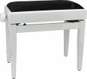 Steinbach Klavierbank mit Notenfach in Weiß poliert schwarzer Stoff