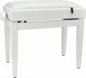 Steinbach Klavierbank mit Notenfach in Weiß poliert weißes Kunstleder