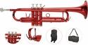 Steinbach Bb- Trompete in Rot mit Neusilber Ventilen