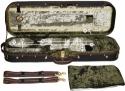Steinbach 4/4 Geigenkoffer Rechteckmodell in grünem Pannesamt mit Zierborde