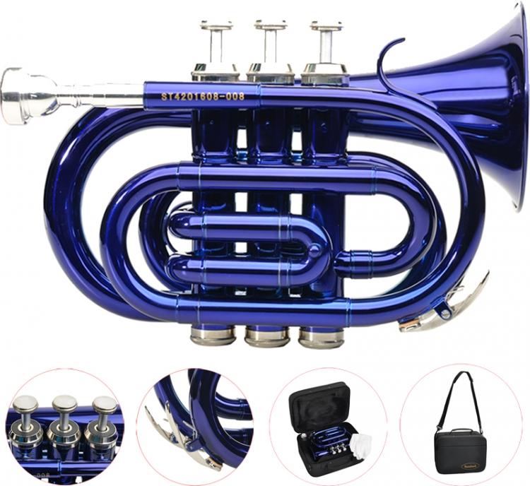 Steinbach Bb Taschentrompete in Blau mit Edelstahlventilen